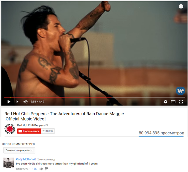 Red Hot Chili Peppers �����������, youtube, ������ �����, redhotchilipeppers, ���