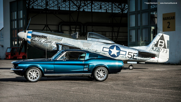 Two Mustangs Ford mustang, Фото, машина, самолет