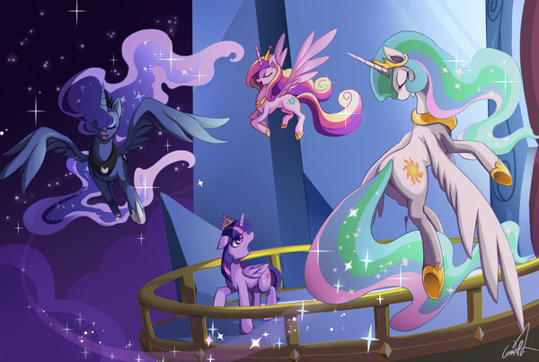Ты сыграешь свою роль my little pony, ponyart, Twilight Sparkle, princess luna, Princess Celestia, Princess Cadance