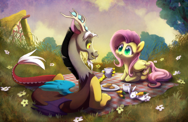 Picnic time my little pony, ponyart, Fluttershy, discord, MLP Angel