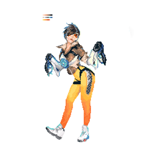 Немного пикселей overwatch, Pixel art, Tracer, Widowmaker, game art, art time