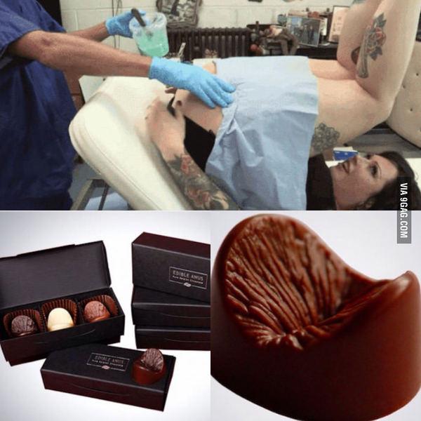 Секс в анус с шоколадом