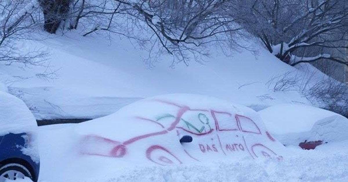 Днем, прикольные рисунки на снегу