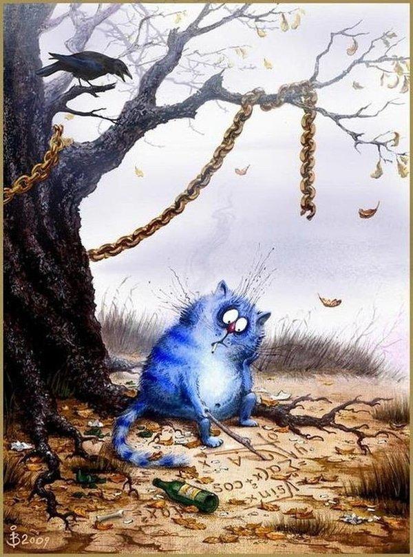 Синие коты Ирины Зенюк не мое, Картинки, кот, длиннопост