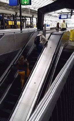 Мои попытки взобраться по карьерной лестнице Эскалатор, Карьера, Юмор, Гифка