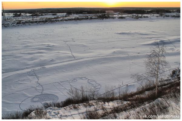 Вытоптали на снегу (Томск) Рожи, Мемы, Снег, Сибирь, Томск