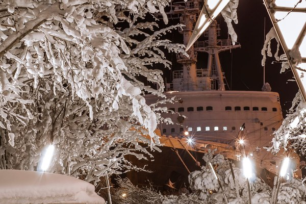 Ледокол спрятанный за деревьями! Ледокол, Атомный ледокол, Мурманск, Зима, Не мое, Из сети, Ледокол Ленин, Корабль