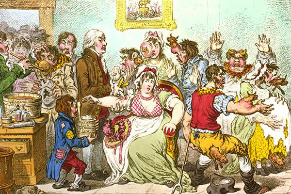 Карикатура на страх перед прививками.