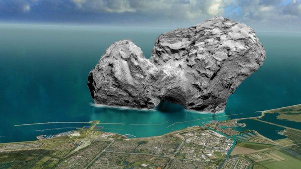 Размер кометы Чурюмова — Герасименко. Внизу Лос-Анджелес.