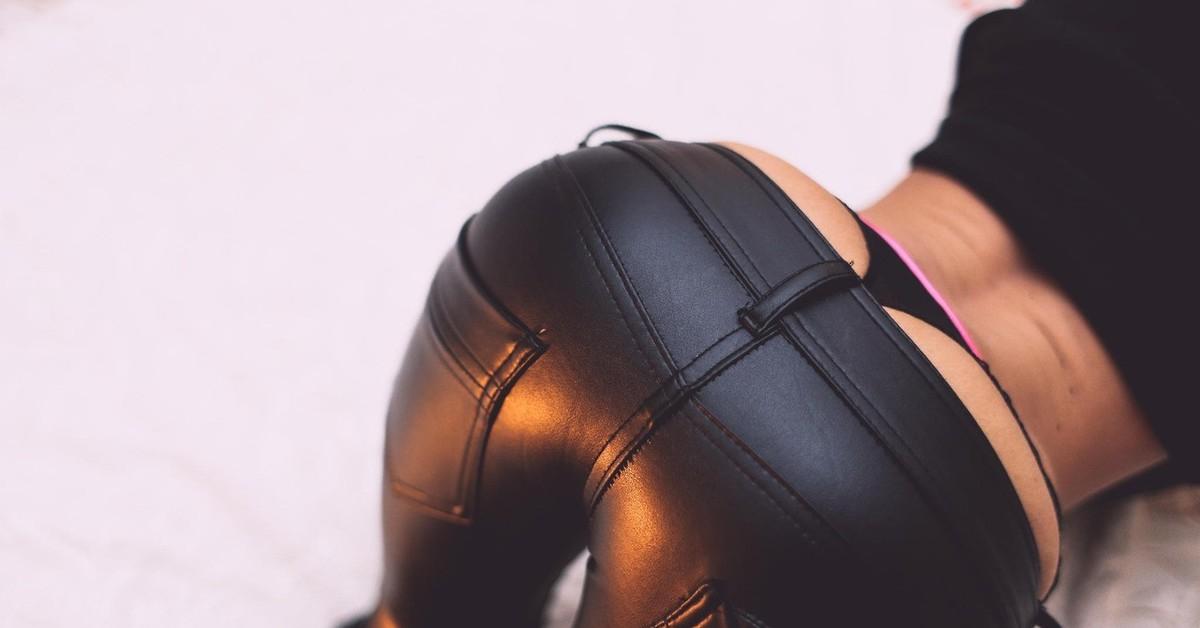 Фото кожаной одежде секси попы