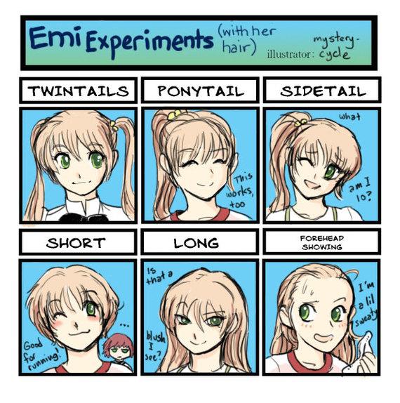 Разные прически персонажей Katawa Shoujo Аниме, Katawa Shoujo, Lilly Satou, Emi Ibarazaki, Hanako ikezawa, Визуальная новелла, Длиннопост