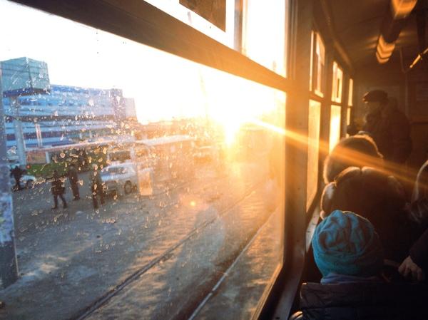 Зимнее утро.Трамвай.