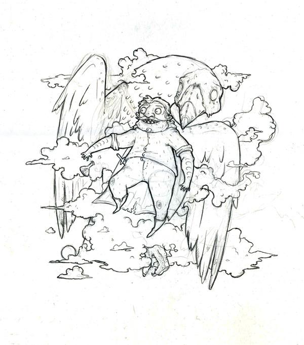 """Дед Востошуб и Зелье"" Рисунок, Творчество, Хобби, Моё, Дед, Птицы"