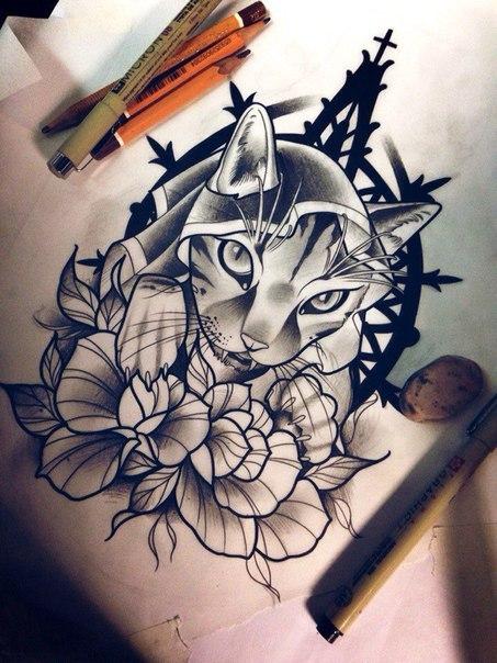 Эскизы котов для татуировки