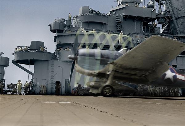 F6F-3 Hellcat  и авианосец Lexington Флот США, Авианосец, Photoshop, Взлет, Палуба, Вторая мировая война, Колоризация