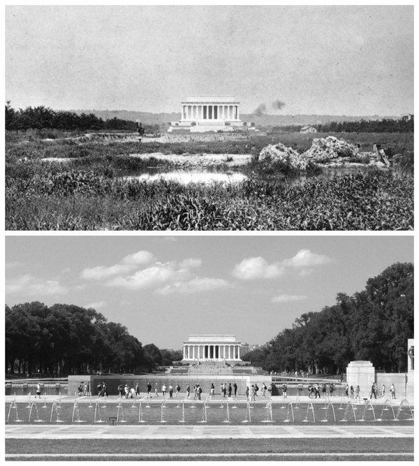 Мемориал Линкольна 1917 vs 2016.