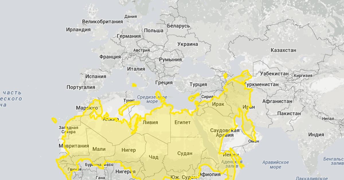 размеры россии и африки мировая