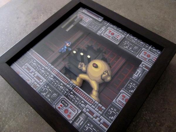 Диорама Mega Man Диорама, 16 бит, Мегамен, Pixel art, Возможный кот, Длиннопост
