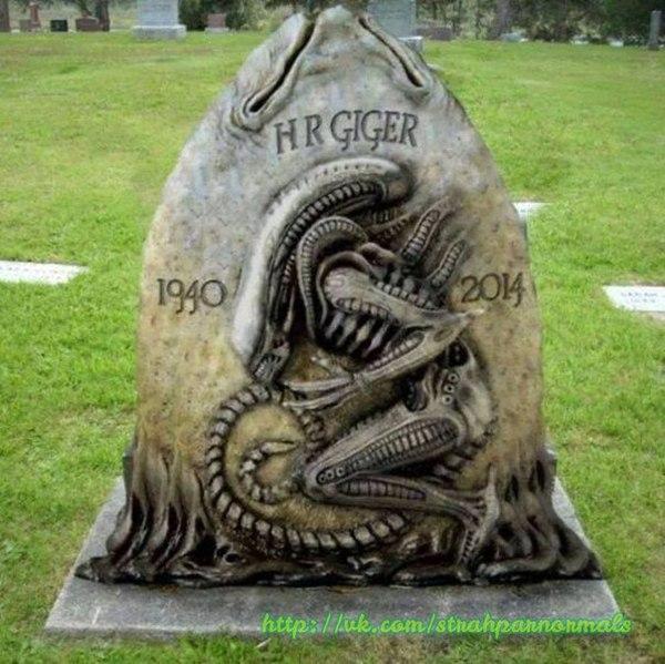 Надгробие на могиле Х. Р. Гигера.