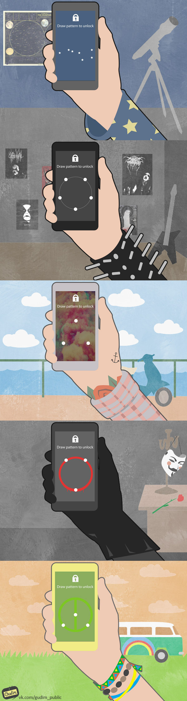 Введите графический ключ gudim, телефон, блокировка, Ключи, арт, длиннопост
