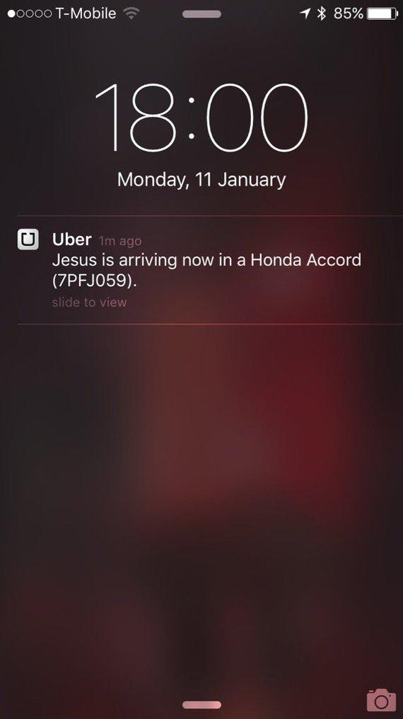 """""""Я представлял себе второе пришествие немного по другому..."""" Скриншот, IOS, Uber, Прикол, Иисус"""