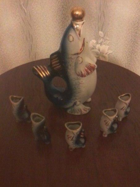 Антиквариат рыба кувшин, совок, антиквариат, ностальгия