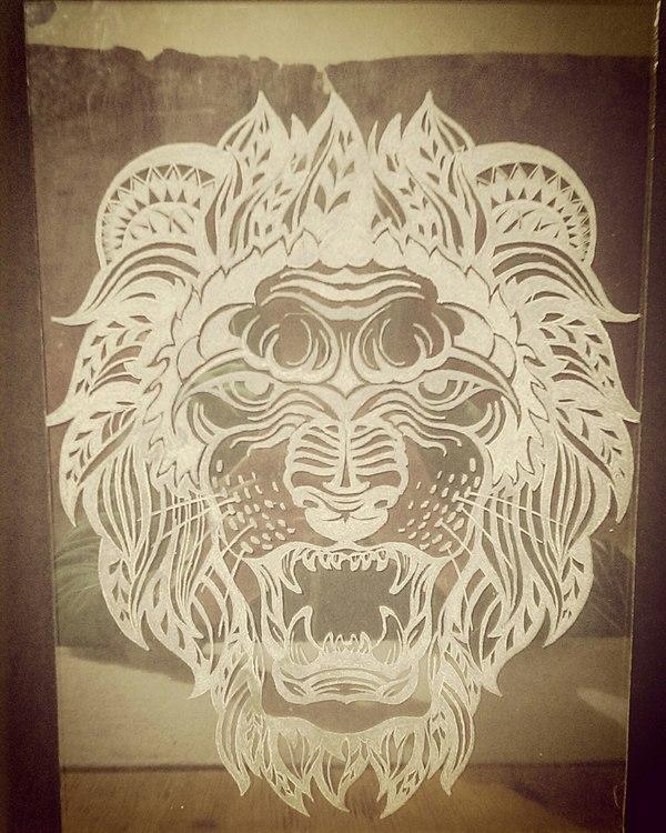 Гравировка на стекле Лев, Гравировка, Стекло, Своими руками, Dremel