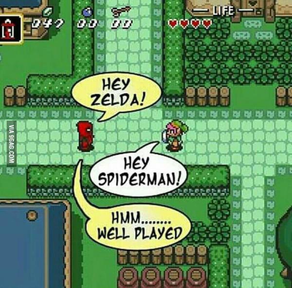 Привет, Зельда! Deadpool, The Legend of Zelda, линк, Spider-Man, 9gag, Картинки, не мое