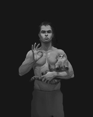 Автопортрет Икона, Автопортрет, Кот, Эпоха возрождение, Картина, Моё, Гифка, Длиннопост