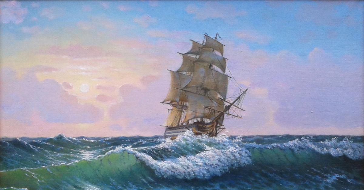 открытки художники о море очки
