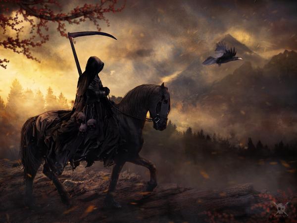 Death арт, смерть, смерть с косой, лошадь, длиннопост