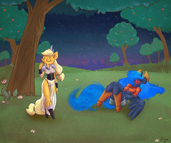 Luna & AppleJack # 9 [2] My little pony, Princess luna, AppleJack, Арт, Хуманизация, Антро