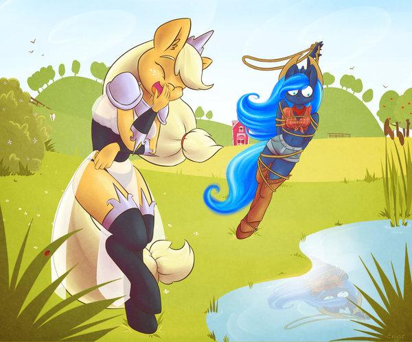 Luna & AppleJack # 21 My little pony, Princess luna, AppleJack, Арт, Антро