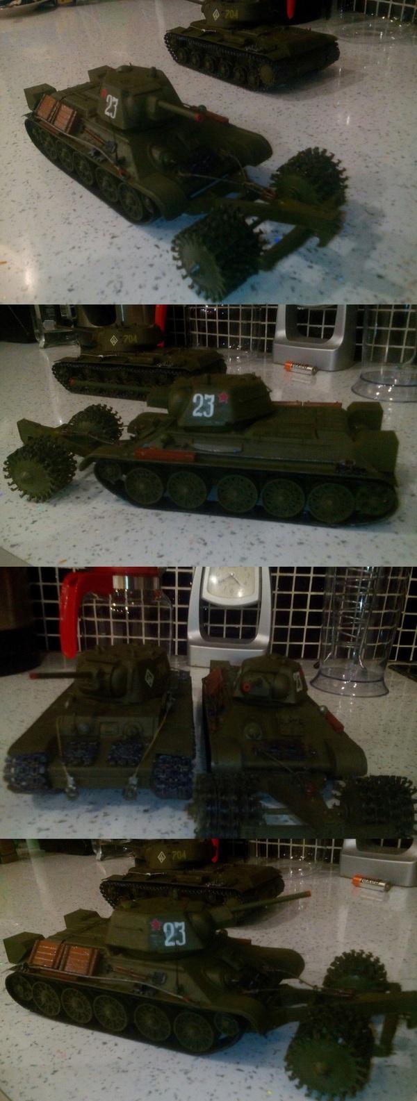 Т 34-76 с минным тралом Модели, Моделизм, Танки, т-34, Длиннопост