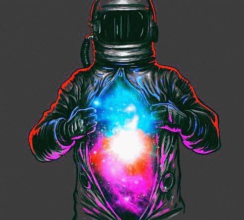 Космо-пост Космонавты, Арт, Космос, Гифка, Длиннопост