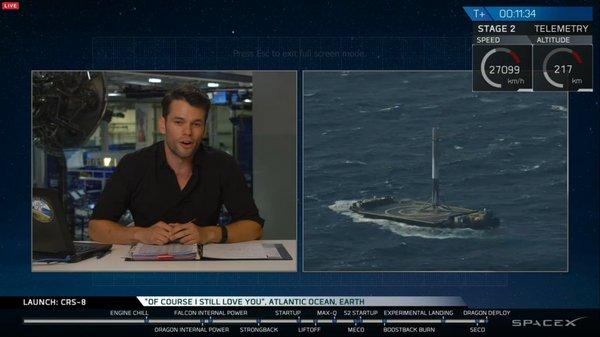 SpaceX впервые посадила первую ступень ракеты на платформу в океане! spacex, космос, Ракета, Falcon