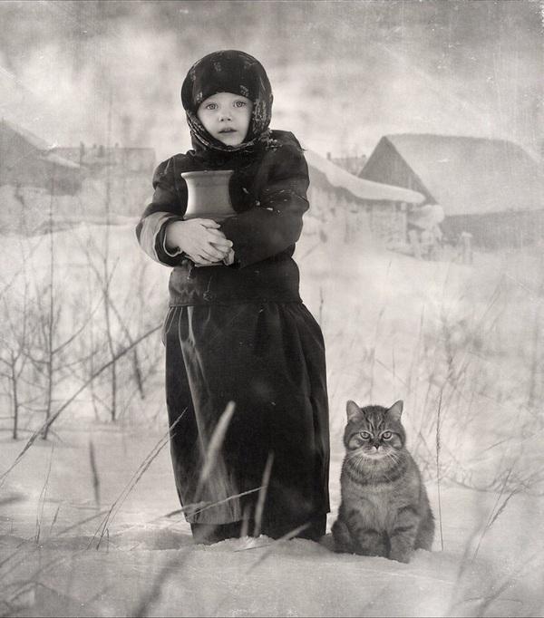 картинки кот и девочка