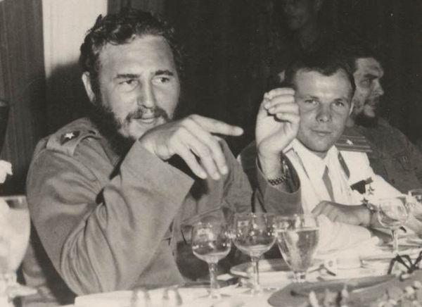 Фидель Кастро, Юрий Гагарин и Че Гевара, Куба, 1961 г.