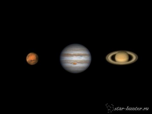 Марс, Юпитер, Сатурн в ночь с 29 на 30 апреля 2016 года. Марс, Юпитер, Сатурн, астрономия, астрофото, космос, StarHunter, КраснодарБалкон