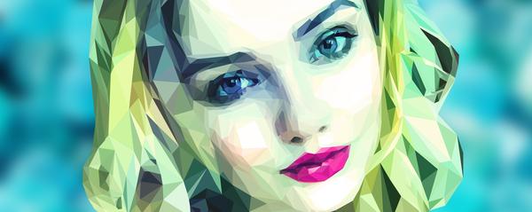 Треугольнички Low poly, Портрет, Обработка, Полигональная графика, Иллюстратор
