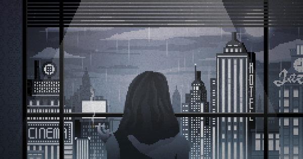 Он и она Pixel Art, Киберпанк, Гифка, Дождь