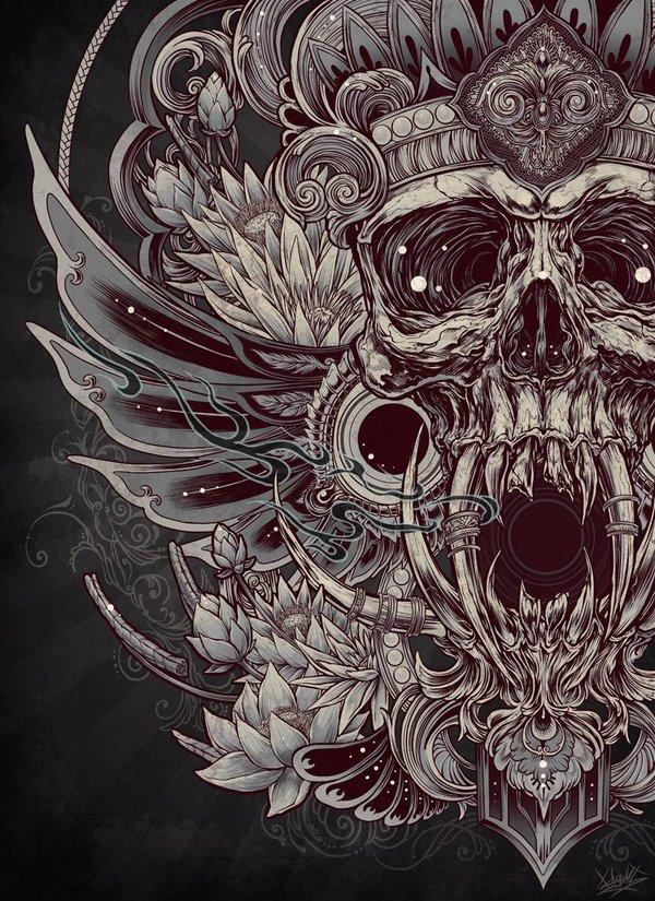 Подборка  мрачных артов от Kogami Kogami, Artworks, Черный, Skull, Арт, Череп, Мрачное, Длиннопост