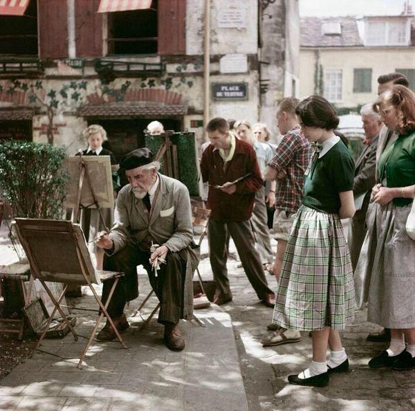 Уличный художник на холме Монмартр в Париже, 1952 год Колоризация, Ретро, Старое фото, Париж, Франция, Не мое, Уличные художники