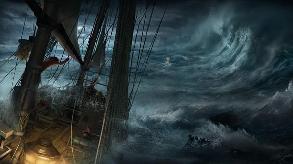 Бешеный ветер рвёт паруса, старый варяг стоит у руля Пираты, Арт, HD, Длиннопост