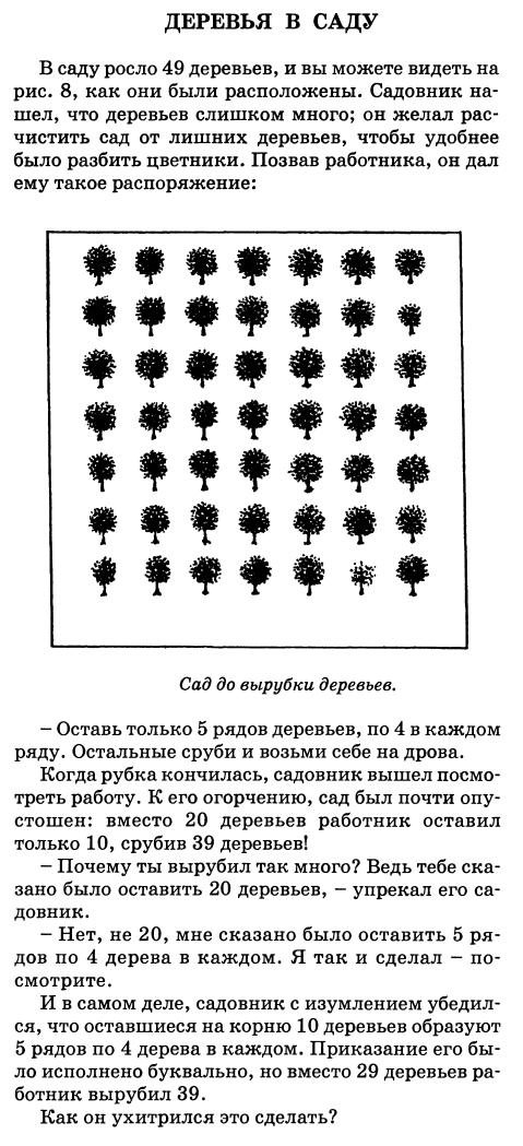 Перельман Я.И. Весёлые задачи. 8. Деревья в саду. Задача, Разминка для мозгов, Длиннопост