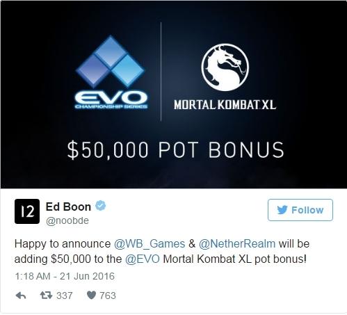 Создатель Mortal Kombat X анонсировал $50 000 призовых на турнир Evo 2016 Mortal kombat, Esport, Киберспорт, Турнир, Видео