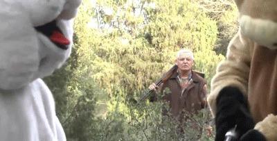 Месть охотнику. Охотник, Животные, Месть, Что происходит?, Гифка