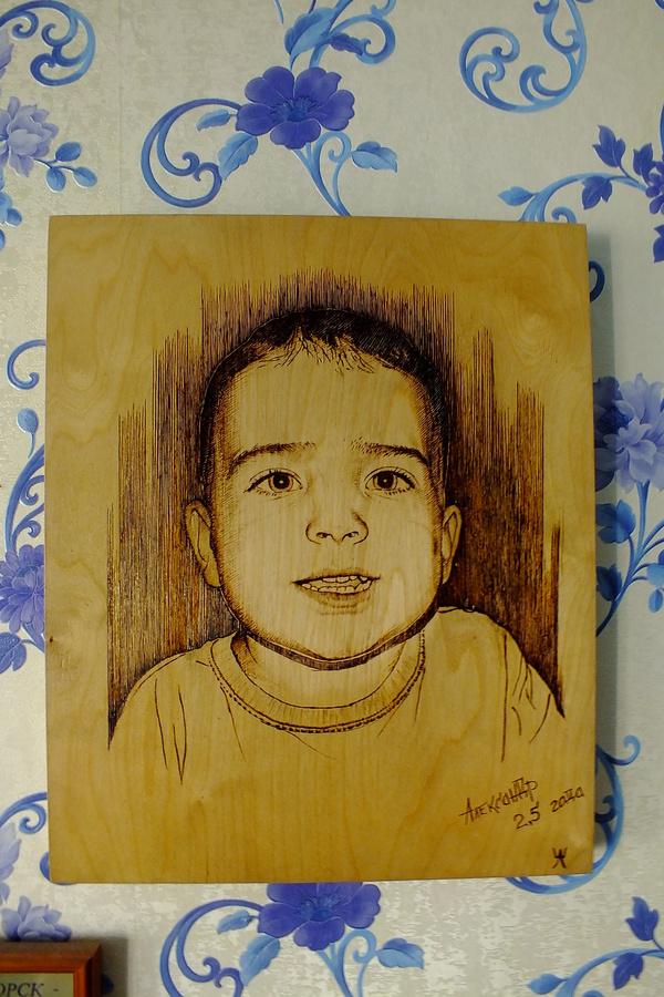Портрет выжигателем (пирографом). выжигатель, пирограф, фанера, портрет, Дети, моё