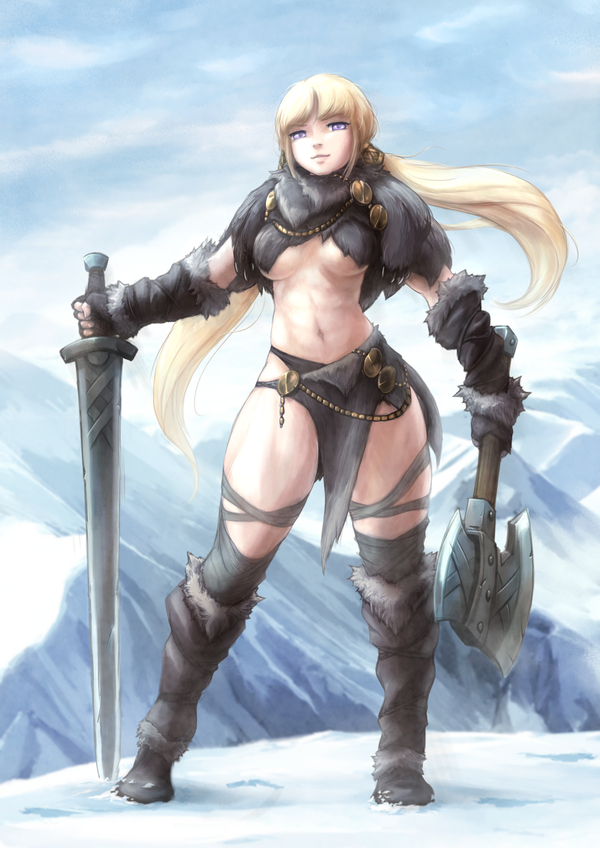 Senki polar tie baihe, крепкая девушка, воительница, аниме, Anime Art