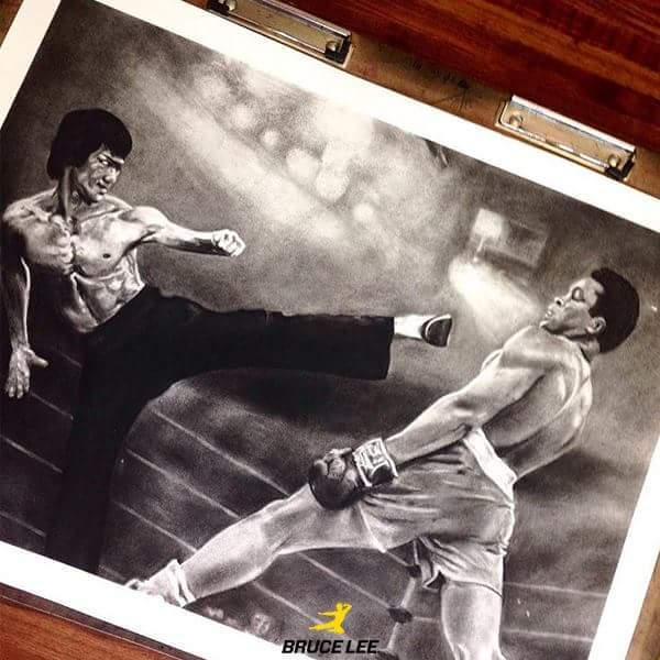 Бой, о котором когда-то мечтал Ли Брюс ли, Мохаммед Али, Бокс, Единоборства, Спорт, Арт, Рисунок
